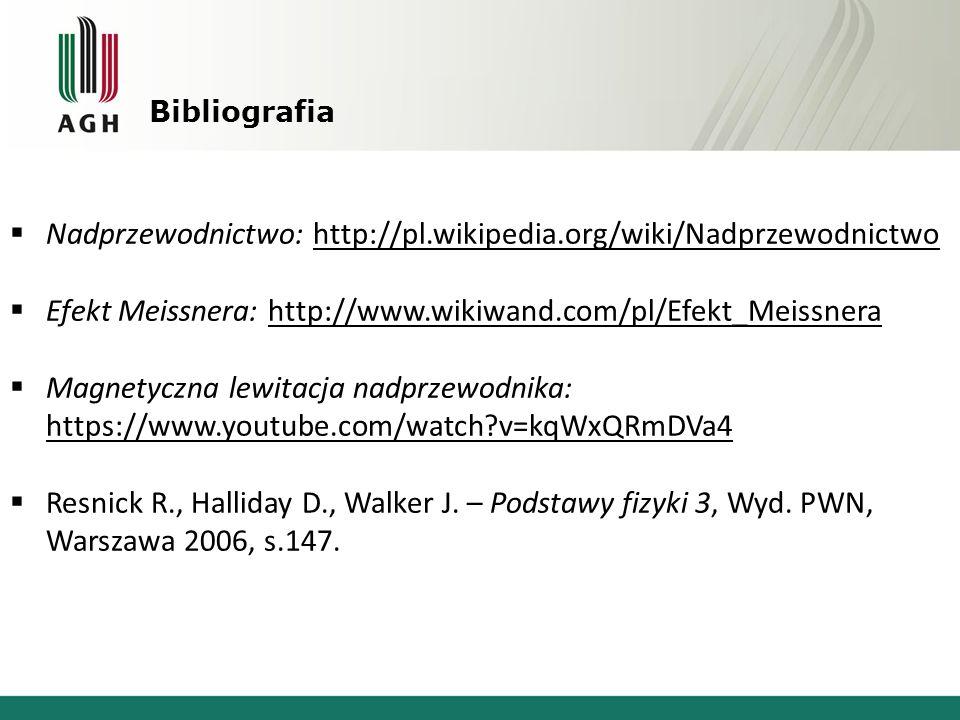 Bibliografia  Nadprzewodnictwo: http://pl.wikipedia.org/wiki/Nadprzewodnictwo  Efekt Meissnera: http://www.wikiwand.com/pl/Efekt_Meissnera  Magnety