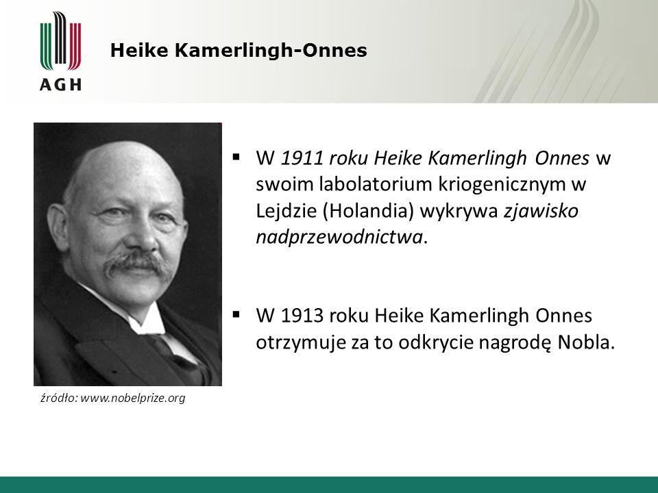 Heike Kamerlingh-Onnes  W 1911 roku Heike Kamerlingh Onnes w swoim labolatorium kriogenicznym w Lejdzie (Holandia) wykrywa zjawisko nadprzewodnictwa.