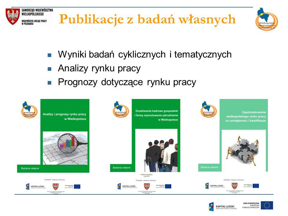 Publikacje z badań własnych Wyniki badań cyklicznych i tematycznych Analizy rynku pracy Prognozy dotyczące rynku pracy