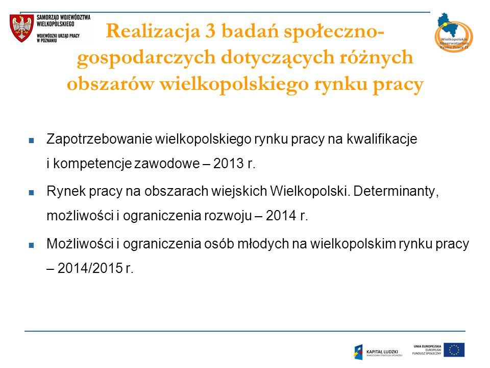Realizacja 3 badań społeczno- gospodarczych dotyczących różnych obszarów wielkopolskiego rynku pracy Zapotrzebowanie wielkopolskiego rynku pracy na kwalifikacje i kompetencje zawodowe – 2013 r.