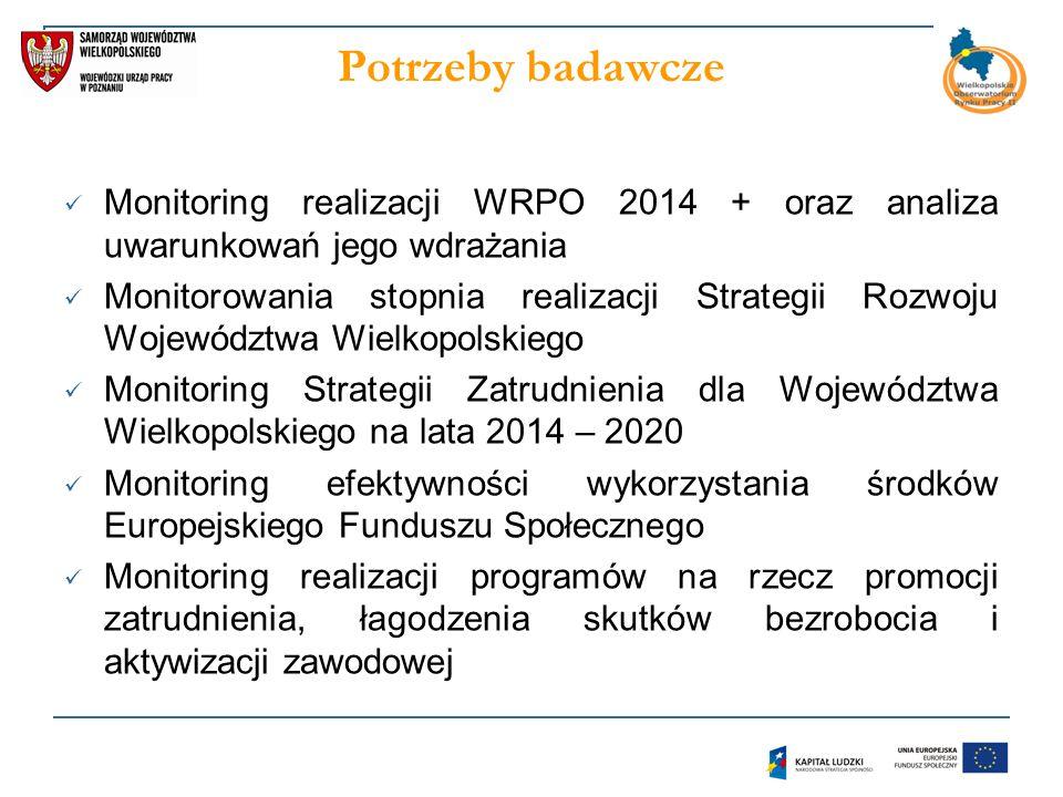 Potrzeby badawcze Monitoring realizacji WRPO 2014 + oraz analiza uwarunkowań jego wdrażania Monitorowania stopnia realizacji Strategii Rozwoju Województwa Wielkopolskiego Monitoring Strategii Zatrudnienia dla Województwa Wielkopolskiego na lata 2014 – 2020 Monitoring efektywności wykorzystania środków Europejskiego Funduszu Społecznego Monitoring realizacji programów na rzecz promocji zatrudnienia, łagodzenia skutków bezrobocia i aktywizacji zawodowej