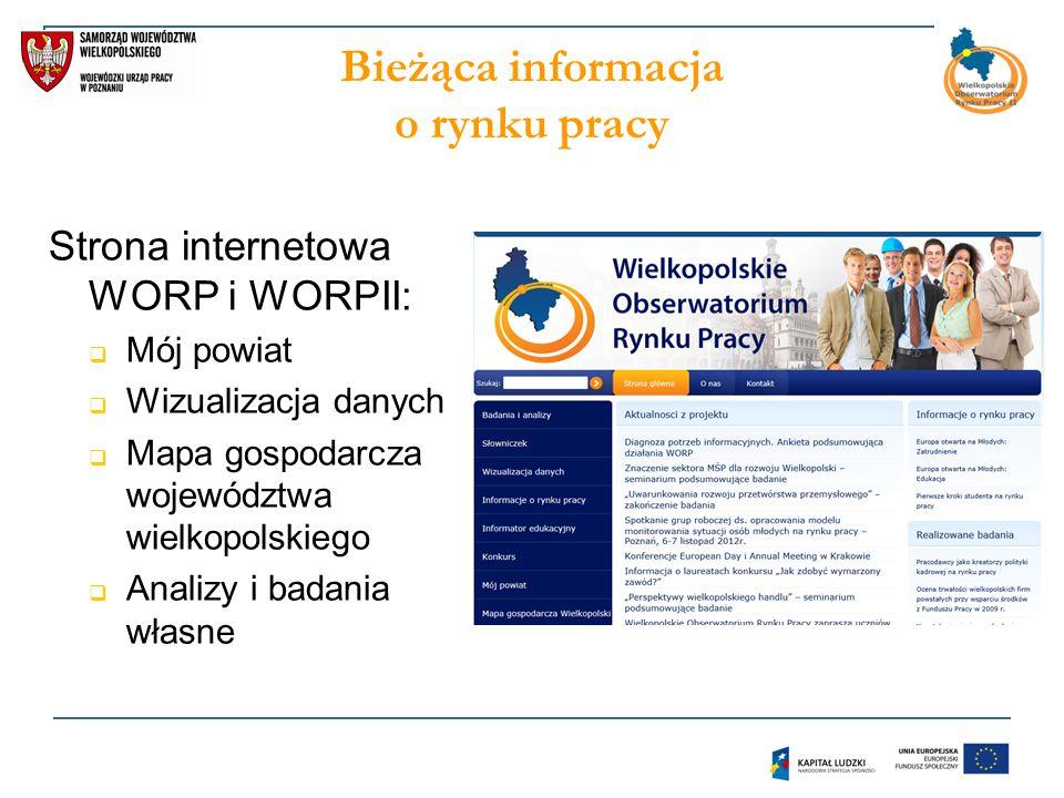 Bieżąca informacja o rynku pracy Strona internetowa WORP i WORPII:  Mój powiat  Wizualizacja danych  Mapa gospodarcza województwa wielkopolskiego  Analizy i badania własne