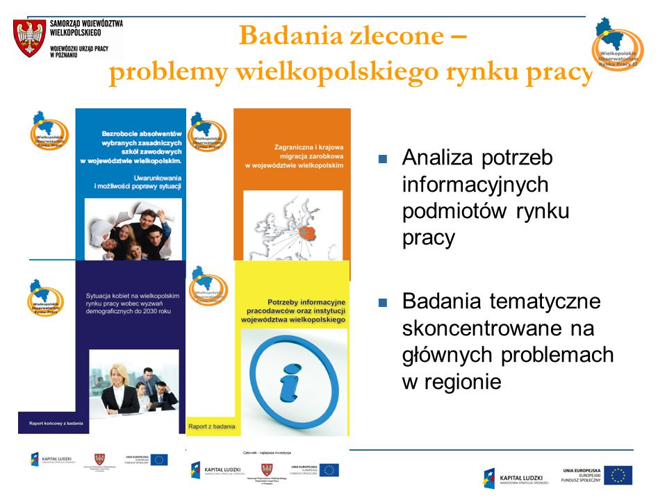 Badania zlecone – problemy wielkopolskiego rynku pracy Analiza potrzeb informacyjnych podmiotów rynku pracy Badania tematyczne skoncentrowane na głównych problemach w regionie