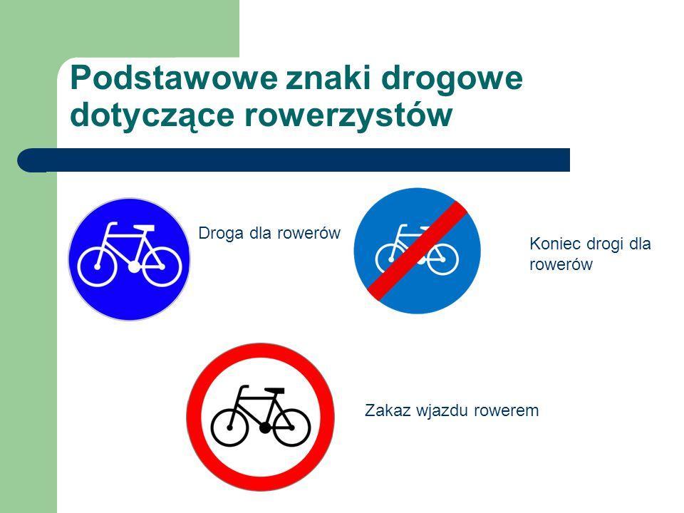 Podstawowe znaki drogowe dotyczące rowerzystów Droga dla rowerów Koniec drogi dla rowerów Zakaz wjazdu rowerem