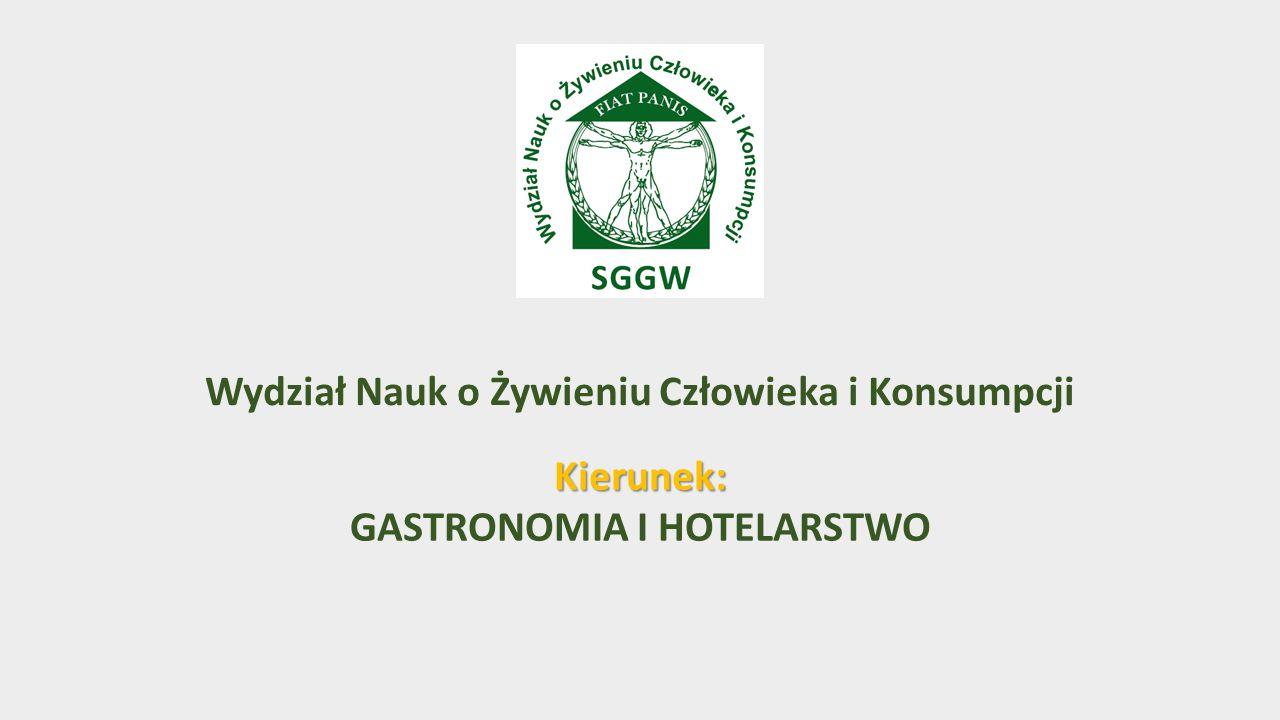 Wydział Nauk o Żywieniu Człowieka i Konsumpcji Kierunek: GASTRONOMIA I HOTELARSTWO