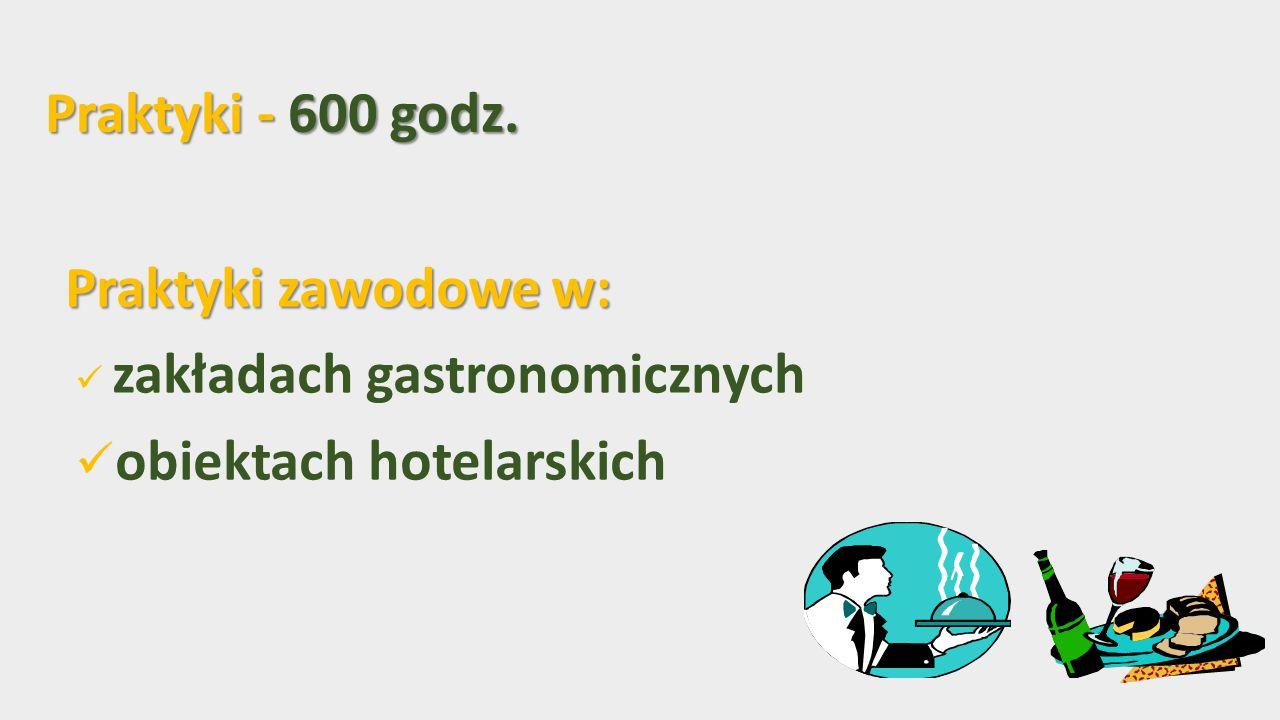 Praktyki - 600 godz. Praktyki zawodowe w: zakładach gastronomicznych obiektach hotelarskich