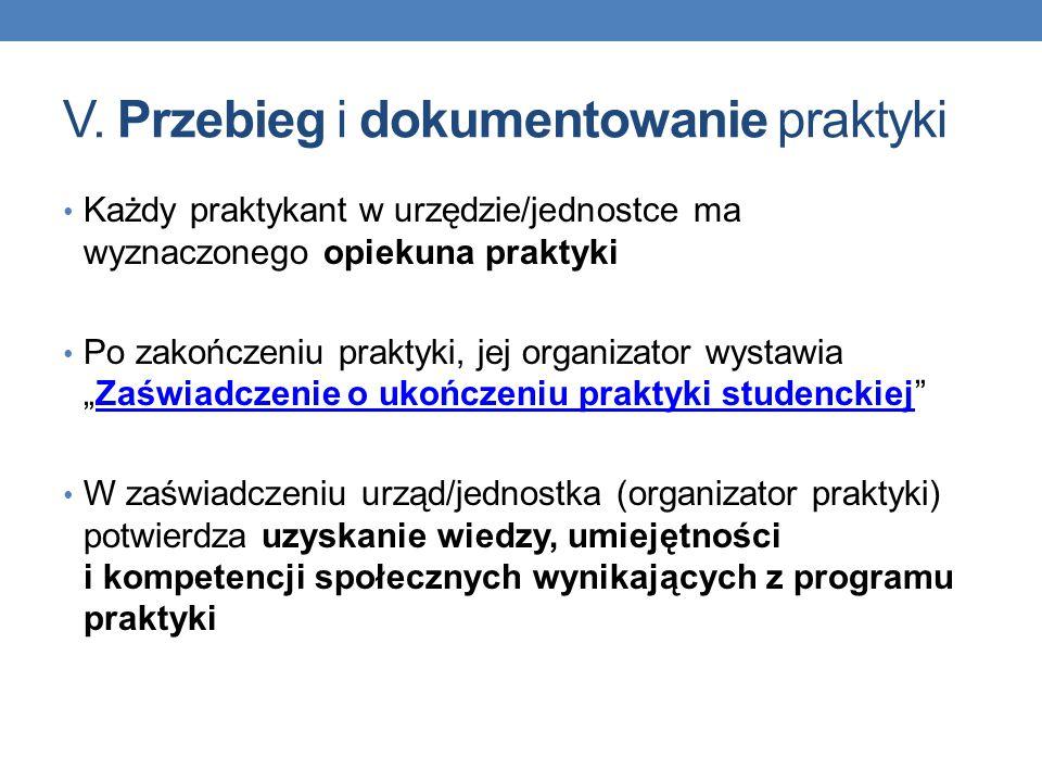 V. Przebieg i dokumentowanie praktyki Każdy praktykant w urzędzie/jednostce ma wyznaczonego opiekuna praktyki Po zakończeniu praktyki, jej organizator