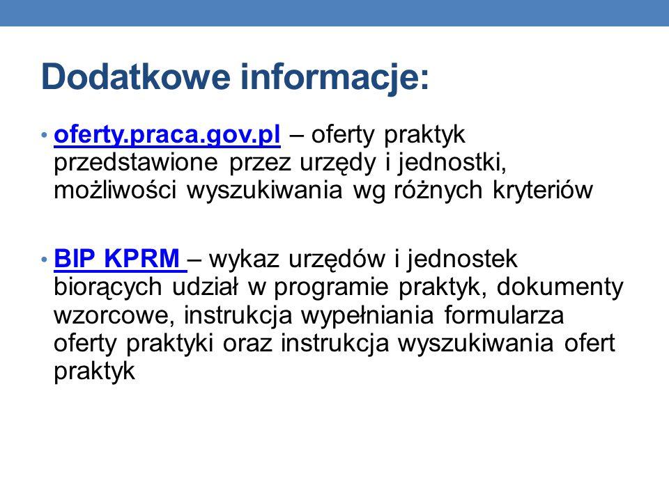 Dodatkowe informacje: oferty.praca.gov.pl – oferty praktyk przedstawione przez urzędy i jednostki, możliwości wyszukiwania wg różnych kryteriów oferty