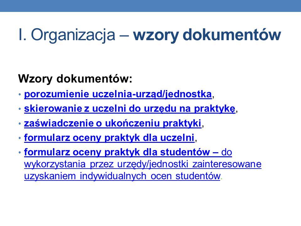 I. Organizacja – wzory dokumentów Wzory dokumentów: porozumienie uczelnia-urząd/jednostka, porozumienie uczelnia-urząd/jednostka skierowanie z uczelni