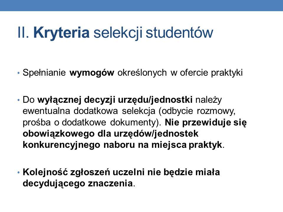 II. Kryteria selekcji studentów Spełnianie wymogów określonych w ofercie praktyki Do wyłącznej decyzji urzędu/jednostki należy ewentualna dodatkowa se