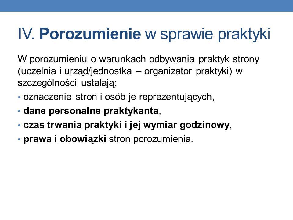 IV. Porozumienie w sprawie praktyki W porozumieniu o warunkach odbywania praktyk strony (uczelnia i urząd/jednostka – organizator praktyki) w szczegól