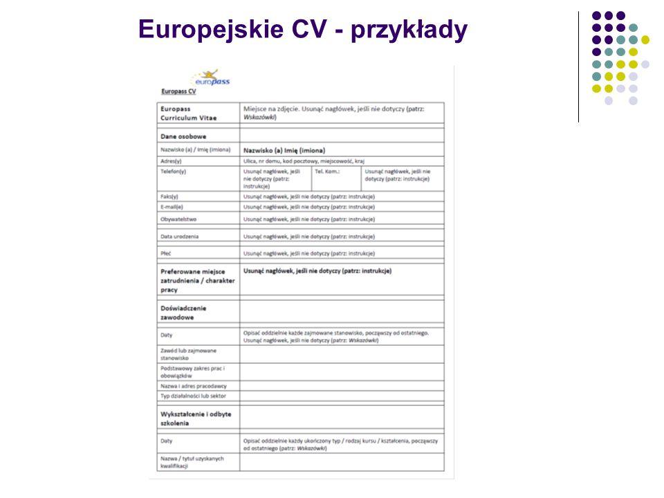Europejskie CV - przykłady