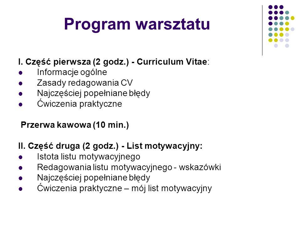 Program warsztatu I. Część pierwsza (2 godz.) - Curriculum Vitae: Informacje ogólne Zasady redagowania CV Najczęściej popełniane błędy Ćwiczenia prakt