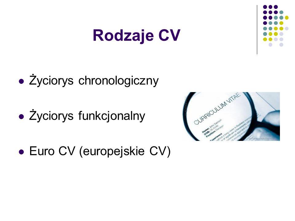 Rodzaje CV Życiorys chronologiczny Życiorys funkcjonalny Euro CV (europejskie CV)