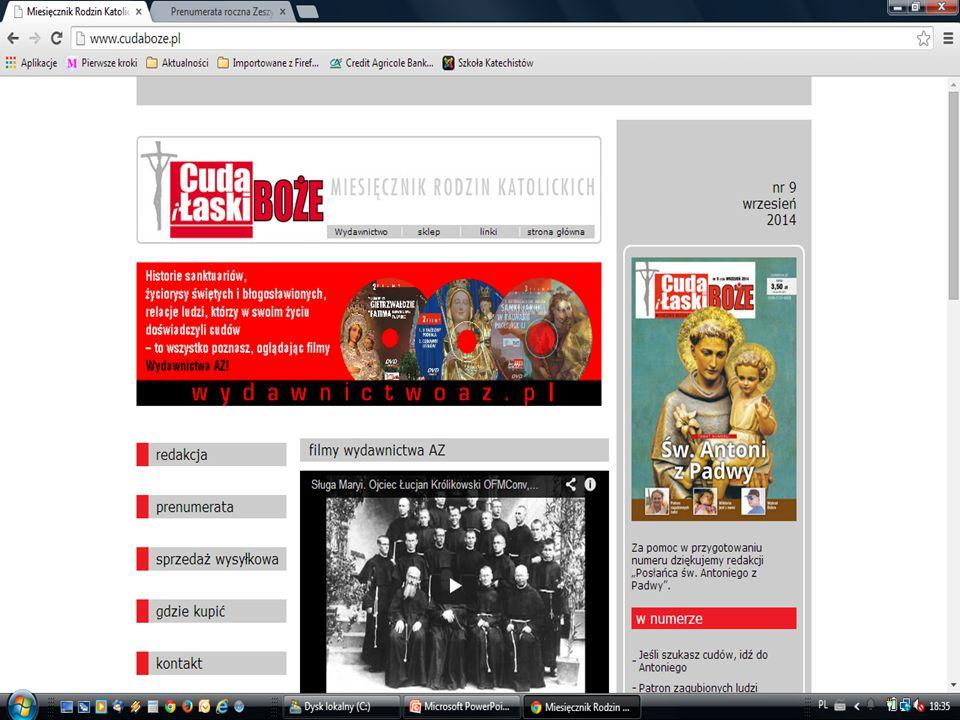 miesięcznik dostępne informacje na stronie internetowej www.cudaboze.pl