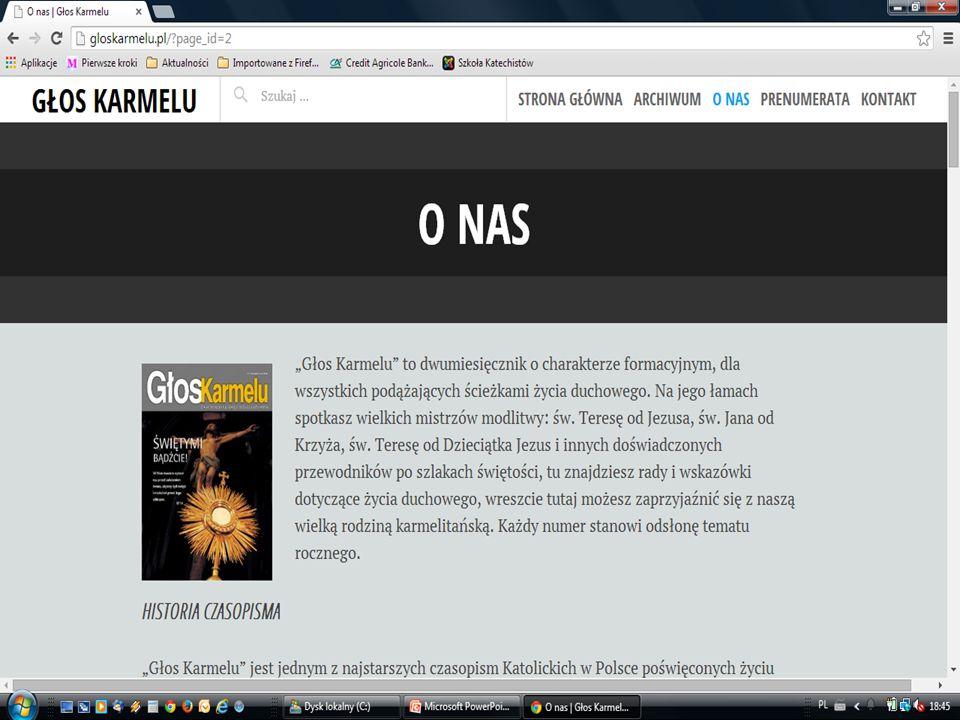 dwumiesięcznik dostępne informacje na stronie internetowej www.gloskarmelu.pl