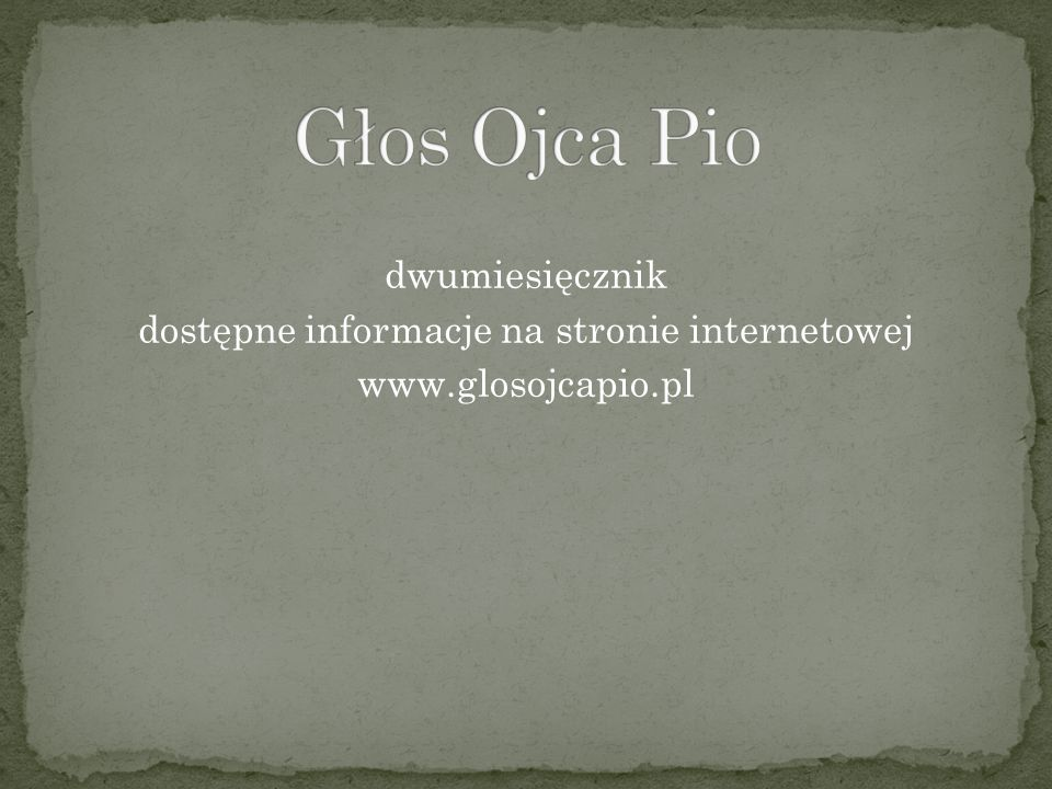tygodnik dostępne informacje na stronie internetowej www.gosc.pl