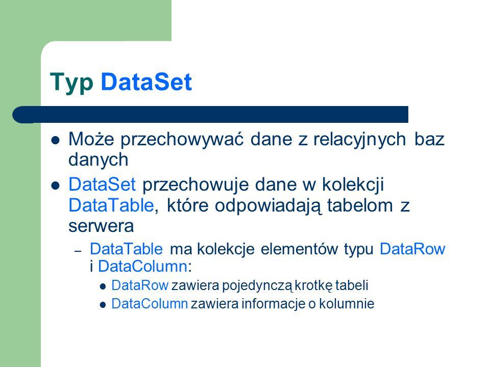 Typ DataSet Może przechowywać dane z relacyjnych baz danych DataSet przechowuje dane w kolekcji DataTable, które odpowiadają tabelom z serwera – DataT