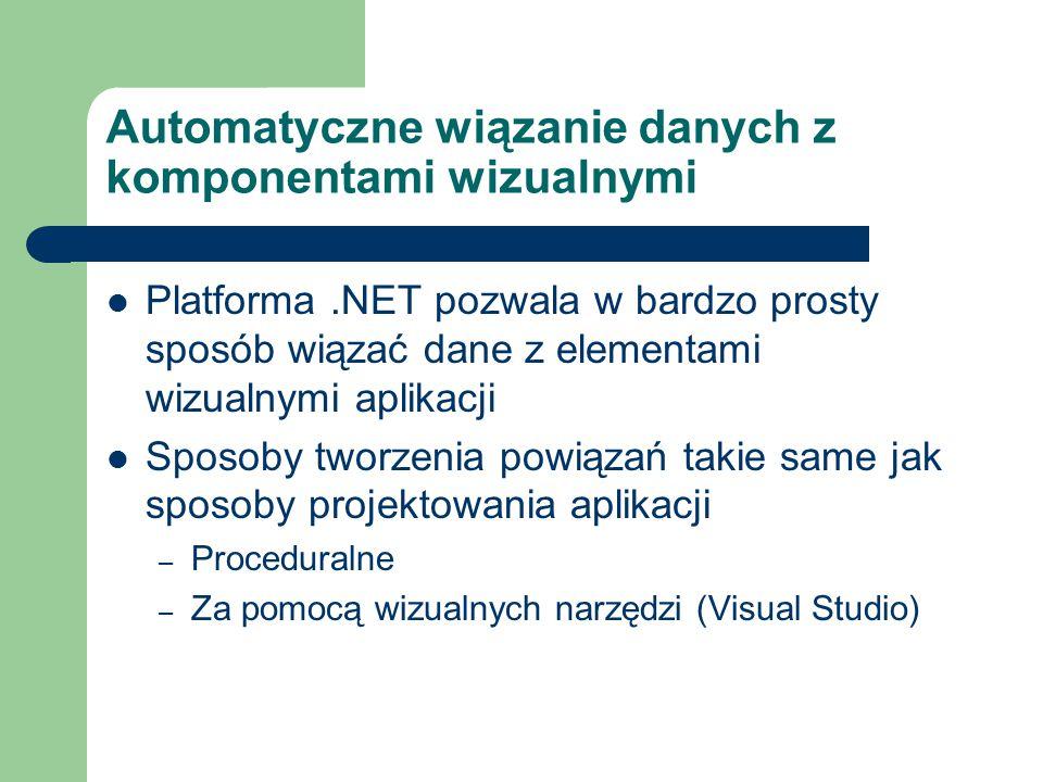 Automatyczne wiązanie danych z komponentami wizualnymi Platforma.NET pozwala w bardzo prosty sposób wiązać dane z elementami wizualnymi aplikacji Spos