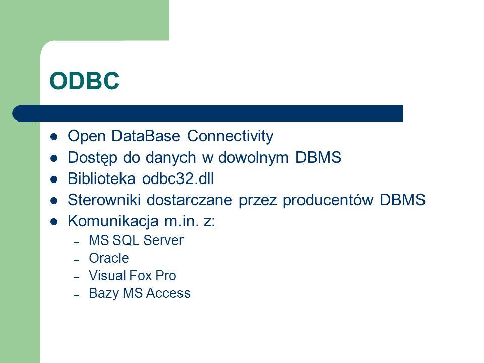 ODBC Open DataBase Connectivity Dostęp do danych w dowolnym DBMS Biblioteka odbc32.dll Sterowniki dostarczane przez producentów DBMS Komunikacja m.in.