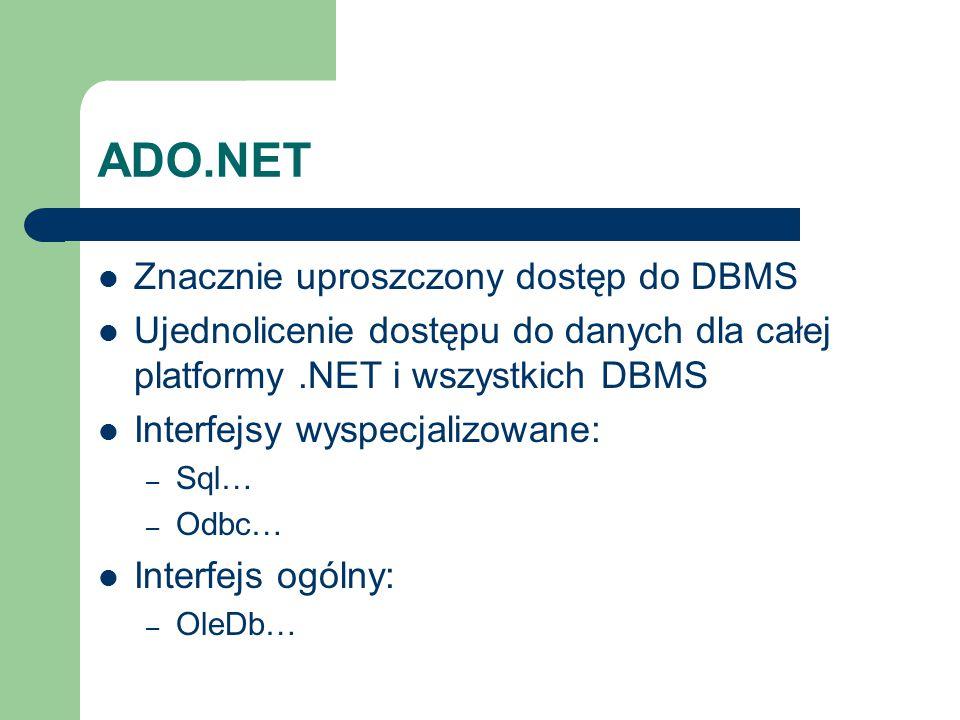 ADO.NET Znacznie uproszczony dostęp do DBMS Ujednolicenie dostępu do danych dla całej platformy.NET i wszystkich DBMS Interfejsy wyspecjalizowane: – S