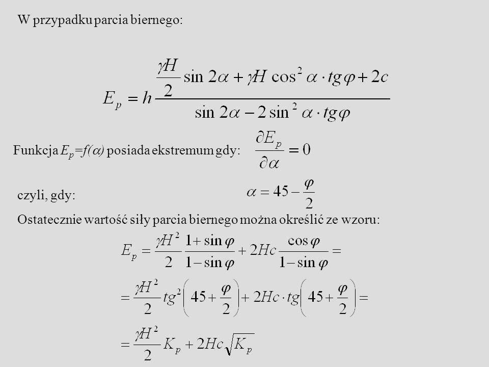 W przypadku parcia biernego: Funkcja E p =f(  ) posiada ekstremum gdy: czyli, gdy: Ostatecznie wartość siły parcia biernego można określić ze wzoru: