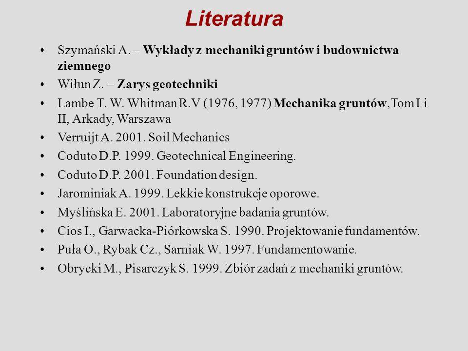 Szymański A. – Wykłady z mechaniki gruntów i budownictwa ziemnego Wiłun Z. – Zarys geotechniki Lambe T. W. Whitman R.V (1976, 1977) Mechanika gruntów,