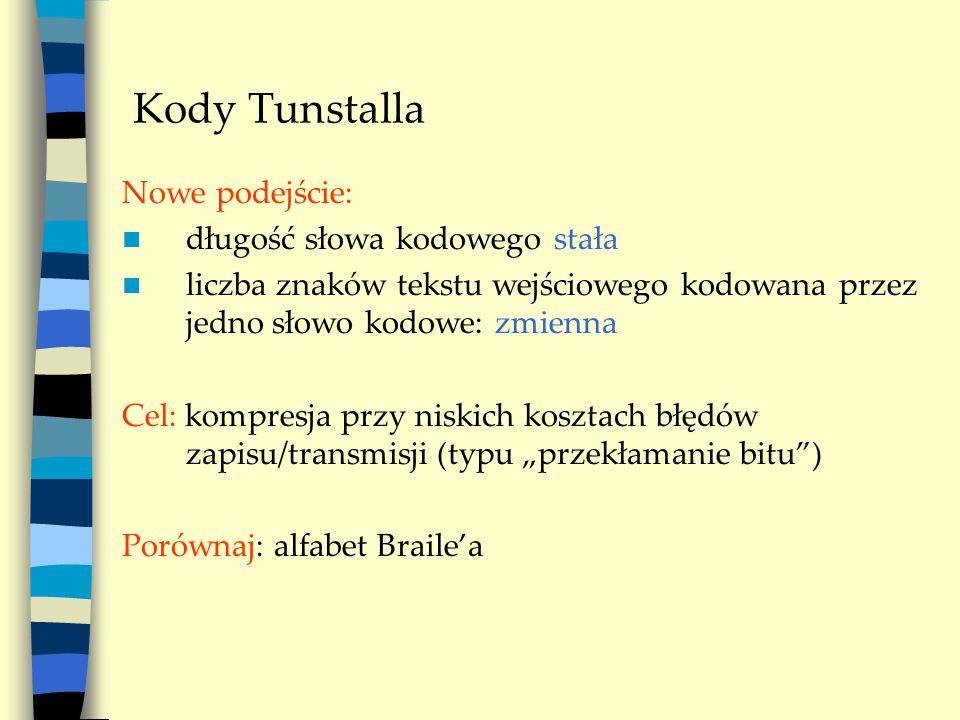 """Kody Tunstalla Nowe podejście: długość słowa kodowego stała liczba znaków tekstu wejściowego kodowana przez jedno słowo kodowe: zmienna Cel: kompresja przy niskich kosztach błędów zapisu/transmisji (typu """"przekłamanie bitu ) Porównaj: alfabet Braile'a"""