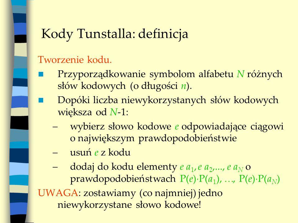 Kody Tunstalla: definicja Tworzenie kodu.