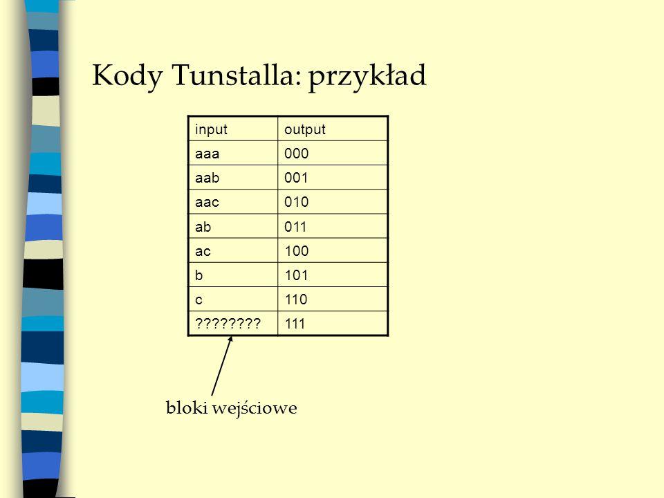 Kody Tunstalla: przykład inputoutput aaa000 aab001 aac010 ab011 ac100 b101 c110 111 bloki wejściowe