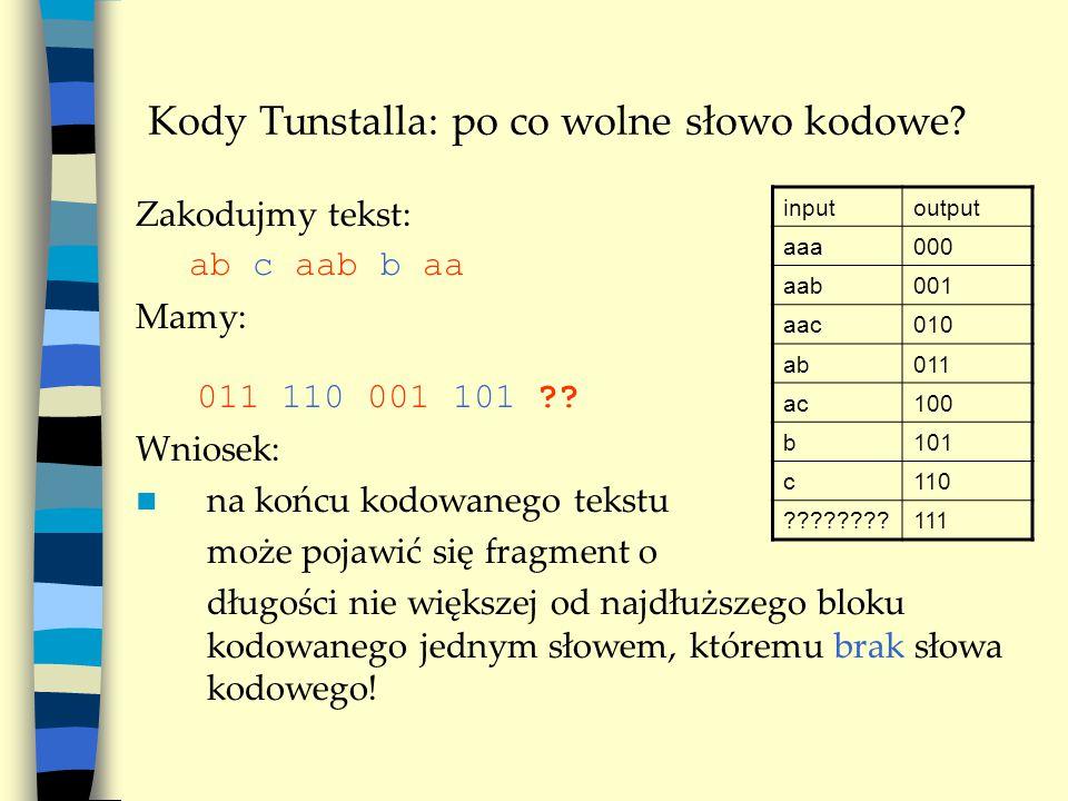 Kody Tunstalla: po co wolne słowo kodowe. Zakodujmy tekst: ab c aab b aa Mamy: 011 110 001 101 ?.