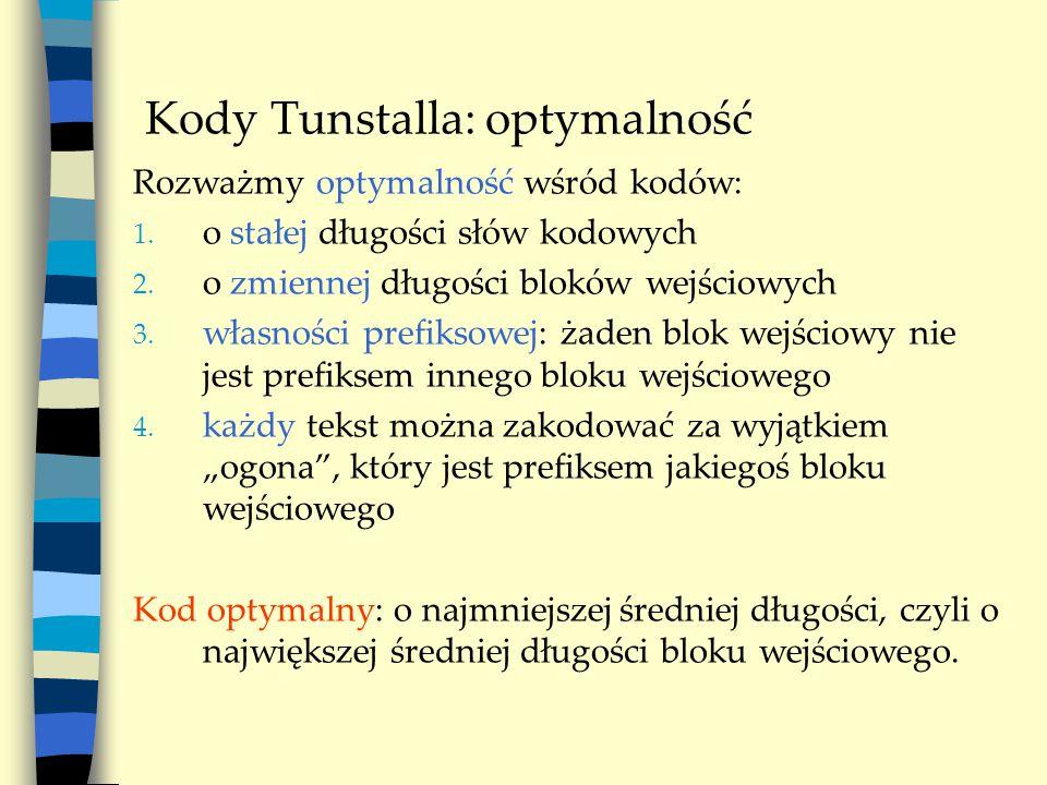 Kody Tunstalla: optymalność Rozważmy optymalność wśród kodów: 1.