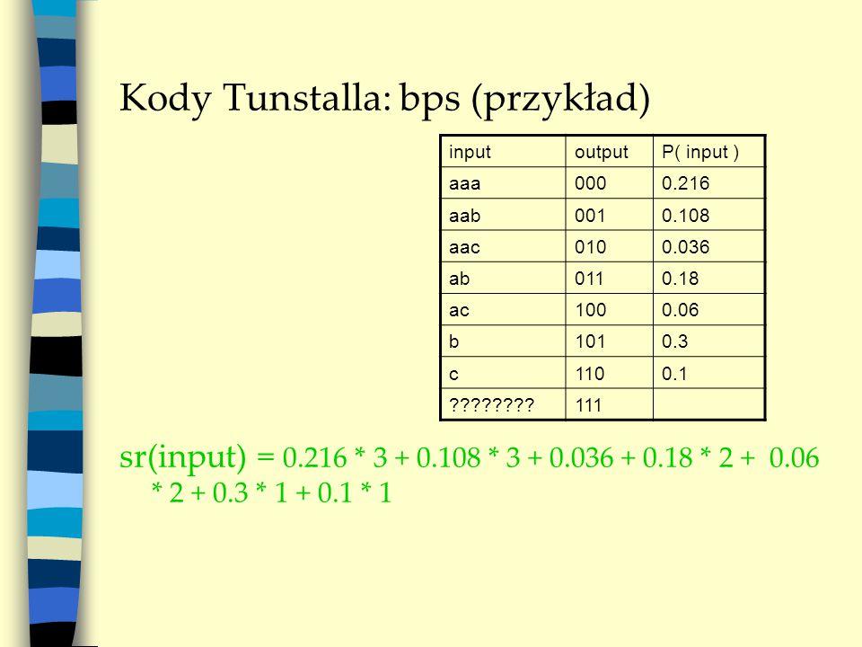 Kody Tunstalla: bps (przykład) inputoutputP( input ) aaa0000.216 aab0010.108 aac0100.036 ab0110.18 ac1000.06 b1010.3 c1100.1 111 sr(input) = 0.216 * 3 + 0.108 * 3 + 0.036 + 0.18 * 2 + 0.06 * 2 + 0.3 * 1 + 0.1 * 1