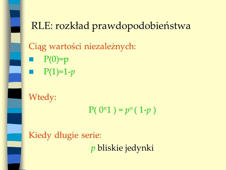 RLE: rozkład prawdopodobieństwa Ciąg wartości niezależnych: P(0)=p P(1)=1-p Wtedy: P( 0 n 1 ) = p n ( 1-p ) Kiedy długie serie: p bliskie jedynki