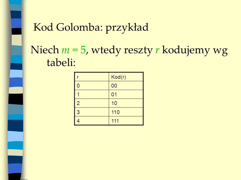 Kod Golomba: przykład Niech m = 5, wtedy reszty r kodujemy wg tabeli: rKod(r) 000 101 210 3110 4111