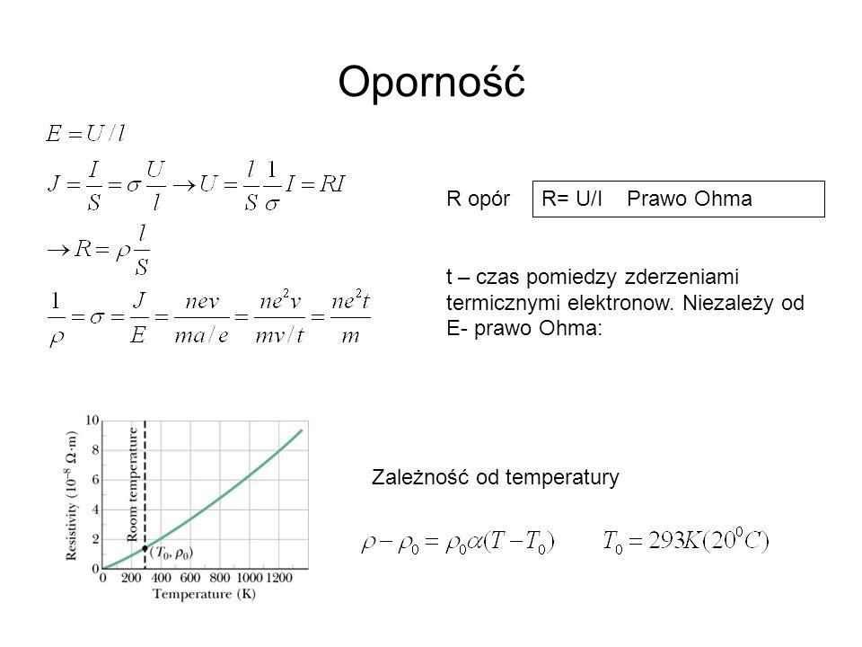 Przepływ prądu w obwodzie Bateria opornik II Prawo Kirchhoffa:  -Ir-IR=0 Siła elektromotoryczna   = dW/dq  dq=  Idt = dW = dtI(Ir+IR)  =Ir+IR II prawo Kirchhoffa to zasada zachowania energii