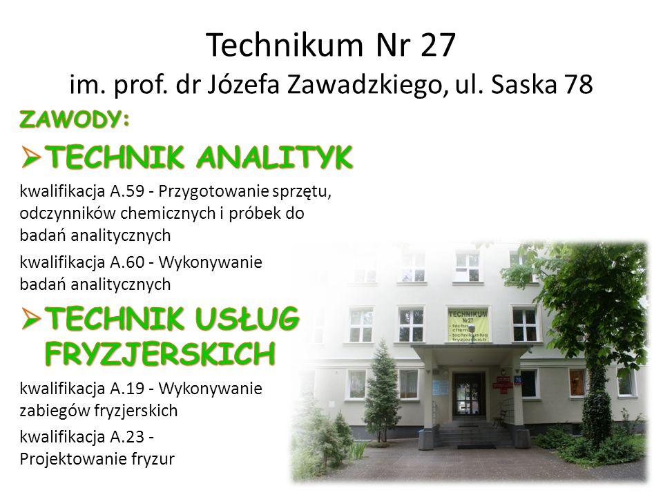 Technikum Nr 27 im. prof. dr Józefa Zawadzkiego, ul. Saska 78