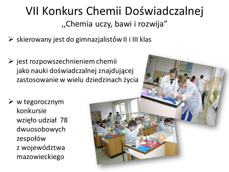 VII Konkurs Chemii Doświadczalnej,,Chemia uczy, bawi i rozwija .