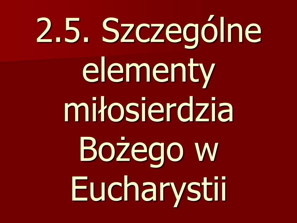 2.5. Szczególne elementy miłosierdzia Bożego w Eucharystii