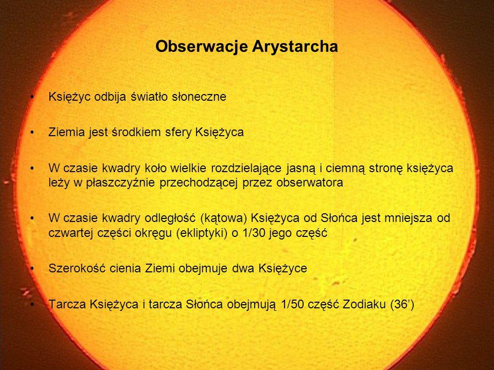 Ciała: Słońce, Ziemia, Księżyc w kwadrze leżą na wierzchołkach trójkąta prostokątnego o kątach: ∠ SKZ=90˚, ∠ ZSK=1/4·2π·1/30=3˚ Geometryczne oszacowanie: 18 < 1/sin3˚ < 20 Z równości wielkości Słońca i Księżyca na niebie wynika równość stosunku ich odległości i średnic Geometryczne wyznaczenie stosunku średnic Ziemi do Słońca i Księżyca Opracowanie metody