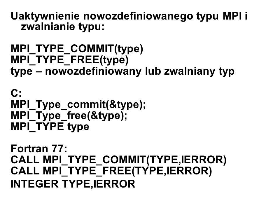 Uaktywnienie nowozdefiniowanego typu MPI i zwalnianie typu: MPI_TYPE_COMMIT(type) MPI_TYPE_FREE(type) type – nowozdefiniowany lub zwalniany typ C: MPI
