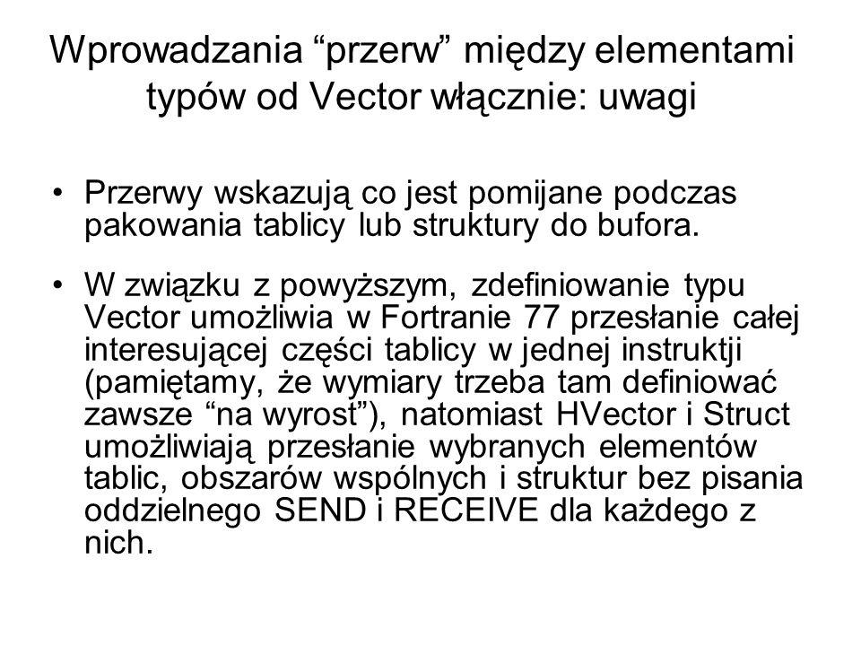 """Wprowadzania """"przerw"""" między elementami typów od Vector włącznie: uwagi Przerwy wskazują co jest pomijane podczas pakowania tablicy lub struktury do b"""