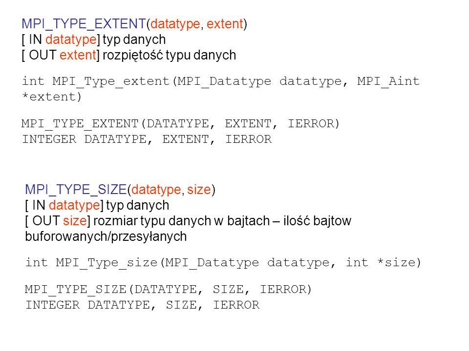 przesyłanie struktury struct Partstruct { char class; double d[6]; char b[7]; } struct Partstruct particle[1000]; int i,dest,rank; MPI_Comm comm; MPI_Datatype Particletype; MPI_Datatype type[3] = {MPI_CHAR, MPI_DOUBLE, MPI_CHAR}; int blocklen[3] = {1, 6, 7}; /* double-word aligned */ MPI_Aint disp[3] = {0, sizeof(double), 7*sizeof(double)}; /* single-word aligned */ MPI_Aint disp[3] = {0, sizeof(int), sizeof(int)+6*sizeof(double)}; MPI_Type_struct(3, blocklen, disp, type, &Particletype); MPI_Type_commit(&Particletype);...