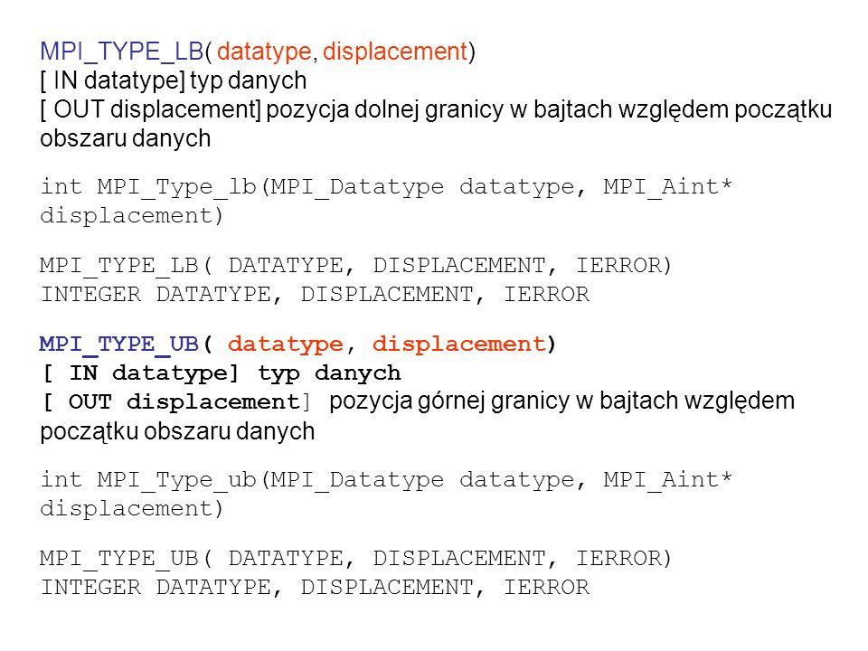 przesyłanie struktury struct Partstruct { char class; double d[6]; char b[7]; } struct Partstruct particle[1000]; int i,dest,rank; MPI_Comm comm; MPI_Datatype Particletype; MPI_Datatype type[3] = {MPI_CHAR, MPI_DOUBLE, MPI_CHAR}; int blocklen[3] = {1, 6, 7}; /* machine independency */ MPI_Aint disp[3]; MPI_Address(particle, &disp[0]); MPI_Address(particle[0].d, &disp[1]); MPI_Address(particle[0].b, &disp[2]); for (i=2; i >=0; i--) disp[i] -= disp[0]; MPI_Type_struct(3, blocklen, disp, type, &Particletype); MPI_Type_commit(&Particletype);...