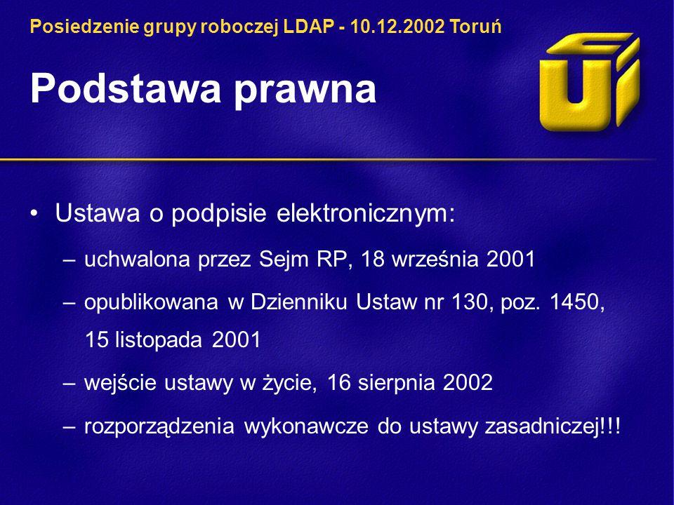 Podstawa prawna Ustawa o podpisie elektronicznym: –uchwalona przez Sejm RP, 18 września 2001 –opublikowana w Dzienniku Ustaw nr 130, poz.