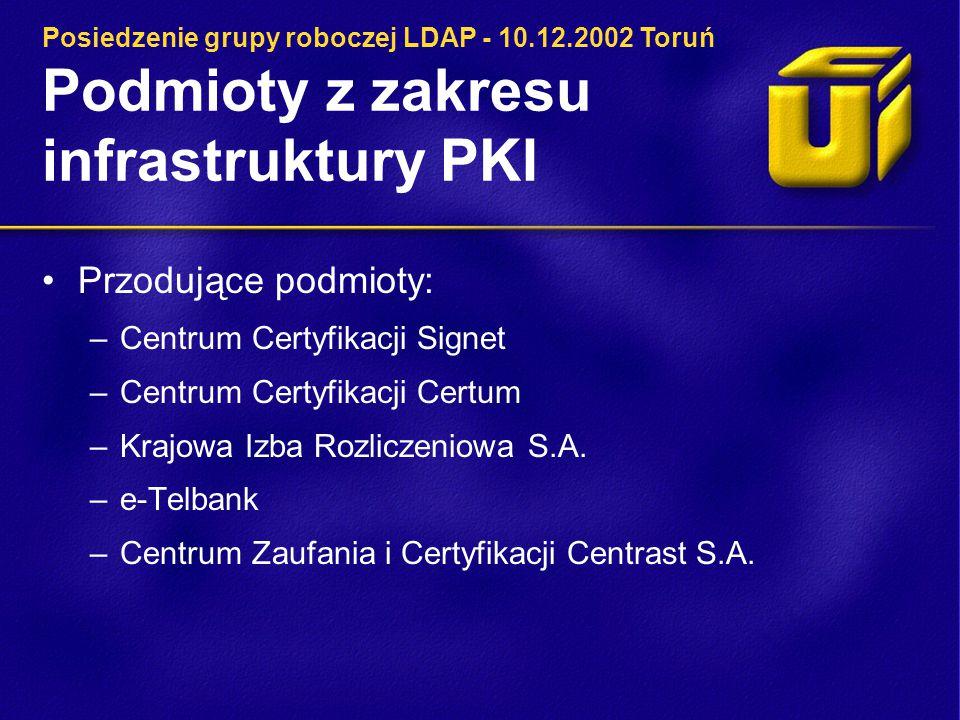Podmioty z zakresu infrastruktury PKI Przodujące podmioty: –Centrum Certyfikacji Signet –Centrum Certyfikacji Certum –Krajowa Izba Rozliczeniowa S.A.