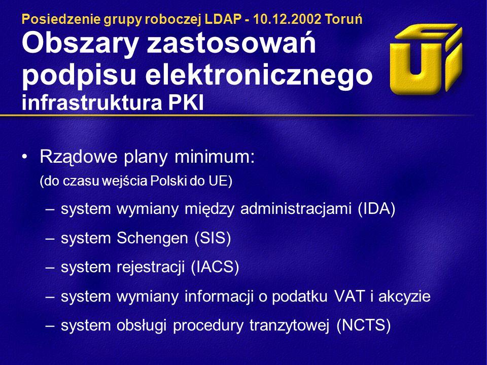 Obszary zastosowań podpisu elektronicznego infrastruktura PKI Rządowe plany minimum: (do czasu wejścia Polski do UE) –system wymiany między administracjami (IDA) –system Schengen (SIS) –system rejestracji (IACS) –system wymiany informacji o podatku VAT i akcyzie –system obsługi procedury tranzytowej (NCTS) Posiedzenie grupy roboczej LDAP - 10.12.2002 Toruń