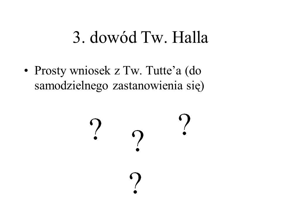 3. dowód Tw. Halla Prosty wniosek z Tw. Tutte'a (do samodzielnego zastanowienia się)