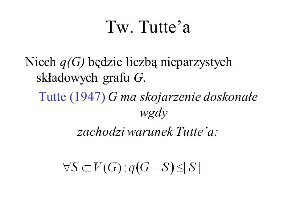 Tw. Tutte'a Niech q(G) będzie liczbą nieparzystych składowych grafu G. Tutte (1947) G ma skojarzenie doskonałe wgdy zachodzi warunek Tutte'a: