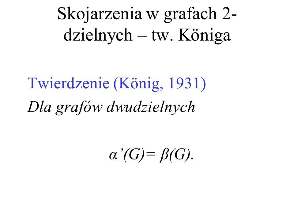 Skojarzenia w grafach 2- dzielnych – tw. Königa Twierdzenie (König, 1931) Dla grafów dwudzielnych α'(G)= β(G).